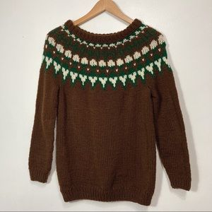 Vintage Hand Knit Brown & Green Fair Isle Sweater Size M